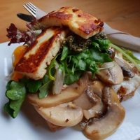 haloumi and mushrooms