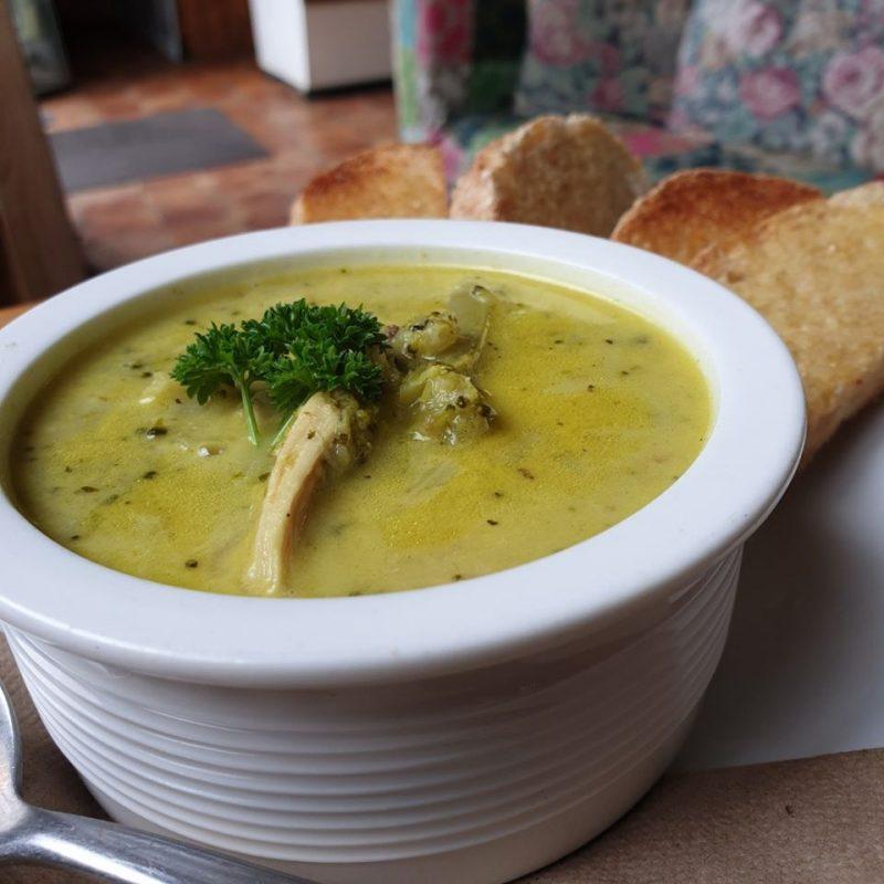 Keto broccoli and chicken soup